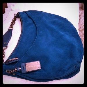 Kenneth cole ny suede leather blue handbag